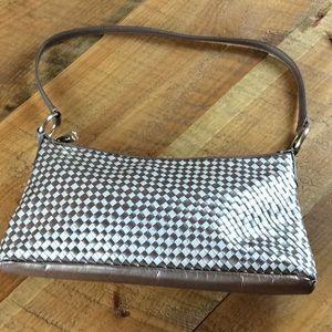 Alfani gold and cream weave handbag
